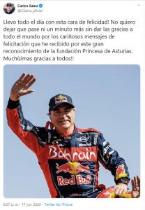 teet carlos sainz recibe premio princera de asturias 2020