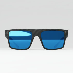 Gafas de sol Square Blue Mirror. Fibra de carbono, cristales polarizados, filtro UV-400.
